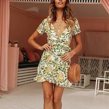 Ajpguot Damen Kurz Kleider Boho Vintage Sommerkleid V-Ausschnitt Blumen Kleid A-Linie Minikleid Swing Strandkleid mit Gürtel, S, 101030weiß - 2