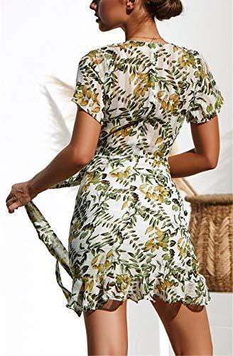 Ajpguot Damen Kurz Kleider Boho Vintage Sommerkleid V-Ausschnitt Blumen Kleid A-Linie Minikleid Swing Strandkleid mit Gürtel, S, 101030weiß - 4