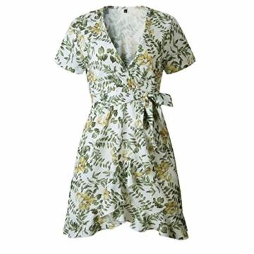 Ajpguot Damen Kurz Kleider Boho Vintage Sommerkleid V-Ausschnitt Blumen Kleid A-Linie Minikleid Swing Strandkleid mit Gürtel, S, 101030weiß - 5