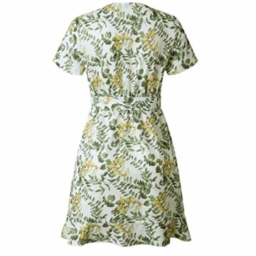 Ajpguot Damen Kurz Kleider Boho Vintage Sommerkleid V-Ausschnitt Blumen Kleid A-Linie Minikleid Swing Strandkleid mit Gürtel, S, 101030weiß - 6