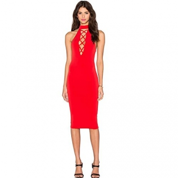 ALAIX Damen Hals hängendes aushöhlendes Bodycon Midi Bandage sexy Party-Kleid Rot-L -