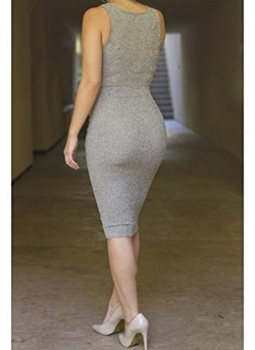 ALAIX Damen Kleid aermeloses sexy Bandage Abend Party Midi Kleid Grau-M -