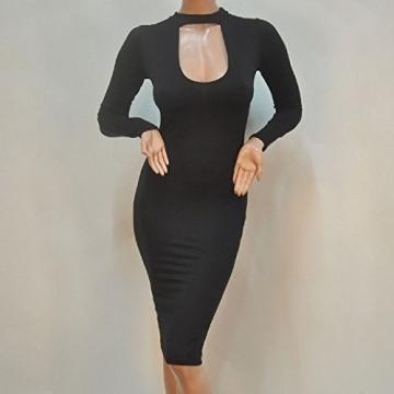 ALAIX Damen Kleid figurbetontes Kleid elastisches und schlankes Party Midi Kleid Schwarz-XL -