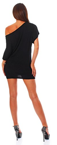 Alb Damen Shirt Bluse Sommer Sommershirt Carmenbluse Longshirt Tunika Bluse Pullover T-Shirt Tank Top Minikleid Schwarz M -