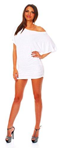 ALB Damen Shirt Bluse Sommer Sommershirt Carmenbluse Longshirt Tunika Bluse Pullover T-Shirt Tank Top Minikleid Weiß S - 1