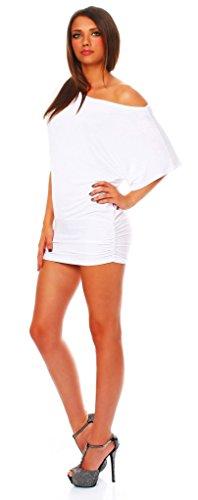 ALB Damen Shirt Bluse Sommer Sommershirt Carmenbluse Longshirt Tunika Bluse Pullover T-Shirt Tank Top Minikleid Weiß S - 2