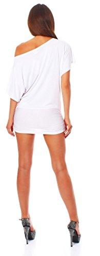 ALB Damen Shirt Bluse Sommer Sommershirt Carmenbluse Longshirt Tunika Bluse Pullover T-Shirt Tank Top Minikleid Weiß S - 3