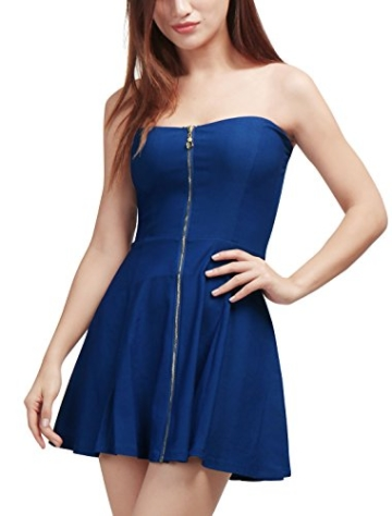 Allegra K Damen Sommer A Linie Reißverschluss Off Shoulder Minikleid Kleid, M (EU 40)/Blau - 3