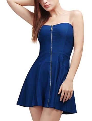 Allegra K Damen Sommer A Linie Reißverschluss Off Shoulder Minikleid Kleid, M (EU 40)/Blau - 4