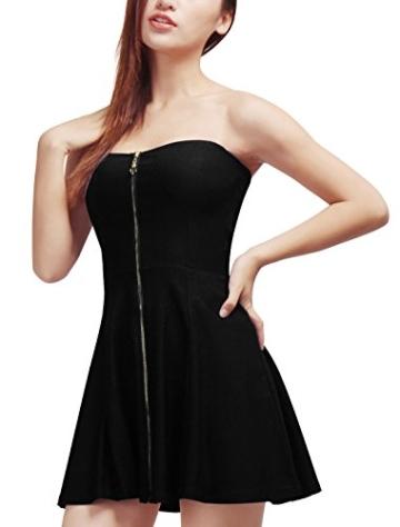 Allegra K Damen Sommer A Linie Reißverschluss Off Shoulder Minikleid Kleid, XL (EU 48)/Schwarz - 2