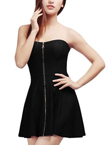 Allegra K Damen Sommer A Linie Reißverschluss Off Shoulder Minikleid Kleid, XL (EU 48)/Schwarz - 3