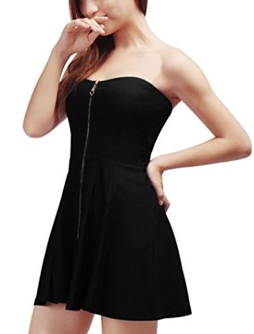 Allegra K Damen Sommer A Linie Reißverschluss Off Shoulder Minikleid Kleid, XL (EU 48)/Schwarz - 4