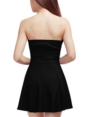 Allegra K Damen Sommer A Linie Reißverschluss Off Shoulder Minikleid Kleid, XL (EU 48)/Schwarz - 5
