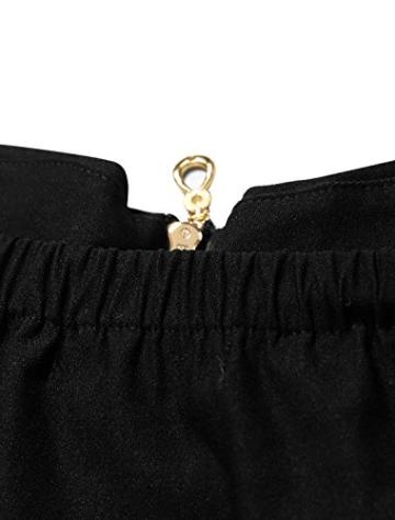 Allegra K Damen Sommer A Linie Reißverschluss Off Shoulder Minikleid Kleid, XL (EU 48)/Schwarz - 7