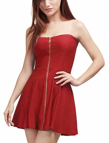 Allegra K Damen Sommer A Linie Reißverschluss Off Shoulder Minikleid Kleid, XS (EU 34)/Rot - 2