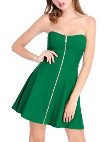 Allegra K Damen Sommer A Linie Reißverschluss Off Shoulder Minikleid Kleid, XS (EU 34)/Grün - 4