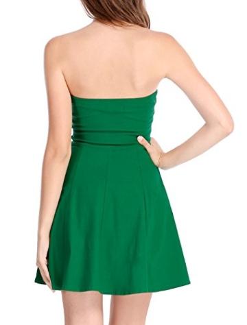 Allegra K Damen Sommer A Linie Reißverschluss Off Shoulder Minikleid Kleid, XS (EU 34)/Grün - 6