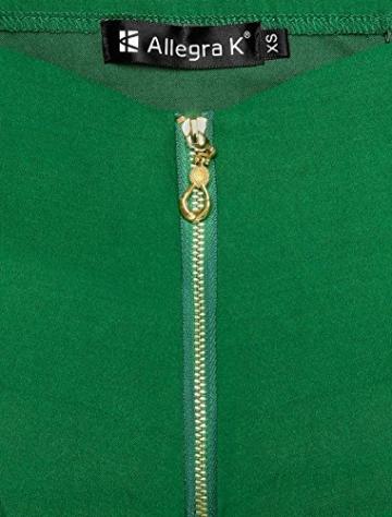 Allegra K Damen Sommer A Linie Reißverschluss Off Shoulder Minikleid Kleid, XS (EU 34)/Grün - 7