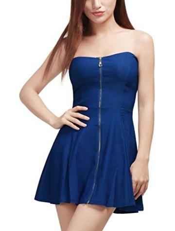 Allegra K Damen Sommer A Linie Reißverschluss Off Shoulder Minikleid Kleid, XS (EU 34)/Blau - 1