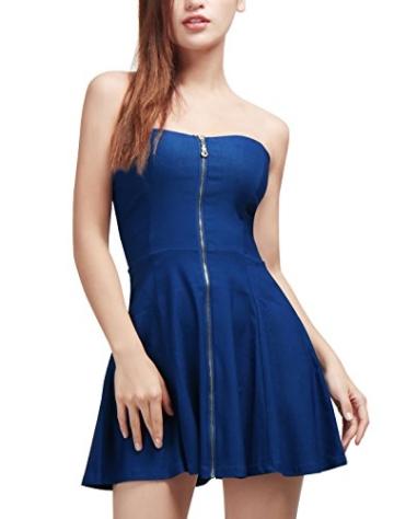 Allegra K Damen Sommer A Linie Reißverschluss Off Shoulder Minikleid Kleid, XS (EU 34)/Blau - 2