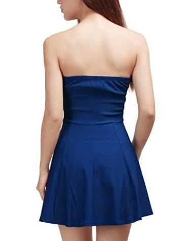 Allegra K Damen Sommer A Linie Reißverschluss Off Shoulder Minikleid Kleid, XS (EU 34)/Blau - 5