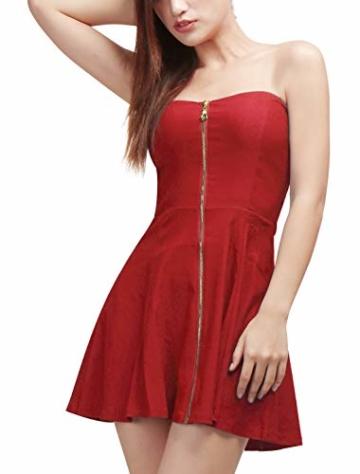 Allegra K Damen Sommer A Linie Reißverschluss Off Shoulder Minikleid Kleid, XS (EU 34)/Rot - 3