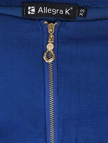Allegra K Damen Sommer A Linie Reißverschluss Off Shoulder Minikleid Kleid, XS (EU 34)/Blau - 7