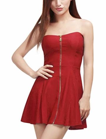 Allegra K Damen Sommer A Linie Reißverschluss Off Shoulder Minikleid Kleid, XS (EU 34)/Rot - 4