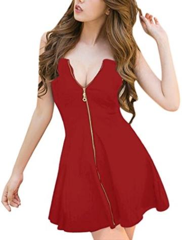 Allegra K Damen Sommer A Linie Reißverschluss Off Shoulder Minikleid Kleid, XS (EU 34)/Rot - 1