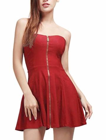 Allegra K Damen Sommer A Linie Reißverschluss Off Shoulder Minikleid Kleid, XS (EU 34)/Rot - 5