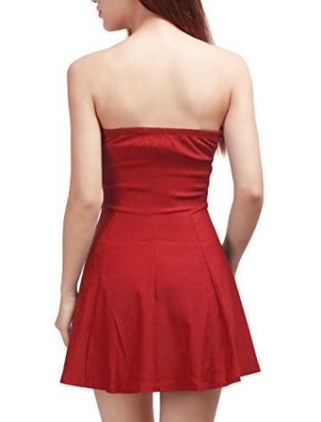 Allegra K Damen Sommer A Linie Reißverschluss Off Shoulder Minikleid Kleid, XS (EU 34)/Rot - 6