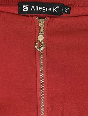 Allegra K Damen Sommer A Linie Reißverschluss Off Shoulder Minikleid Kleid, XS (EU 34)/Rot - 7