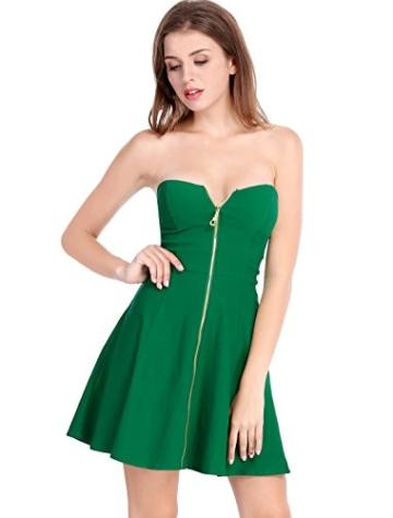 Allegra K Damen Sommer A Linie Reißverschluss Off Shoulder Minikleid Kleid, XS (EU 34)/Grün - 1