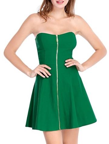 Allegra K Damen Sommer A Linie Reißverschluss Off Shoulder Minikleid Kleid, XS (EU 34)/Grün - 2