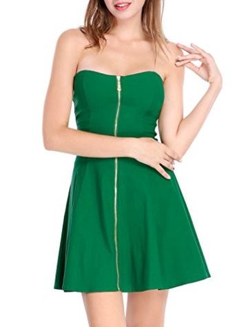 Allegra K Damen Sommer A Linie Reißverschluss Off Shoulder Minikleid Kleid, XS (EU 34)/Grün - 3