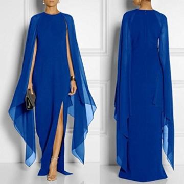 AmazingDays Damen Kleid Chiffon Kleider Lang Minikleid Elegant Ballkleider Abendkleider TüLl Partykleid Sommerkleid Casual (Blau, S) - 2