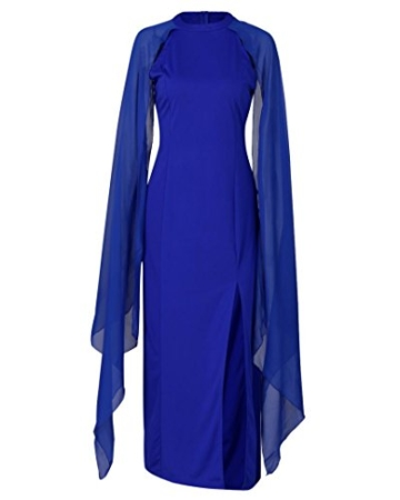 AmazingDays Damen Kleid Chiffon Kleider Lang Minikleid Elegant Ballkleider Abendkleider TüLl Partykleid Sommerkleid Casual (Blau, S) - 3