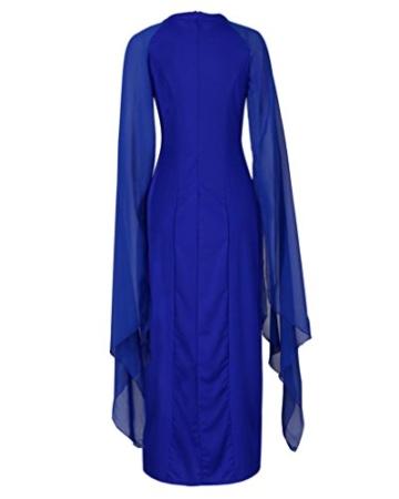 AmazingDays Damen Kleid Chiffon Kleider Lang Minikleid Elegant Ballkleider Abendkleider TüLl Partykleid Sommerkleid Casual (Blau, S) - 4