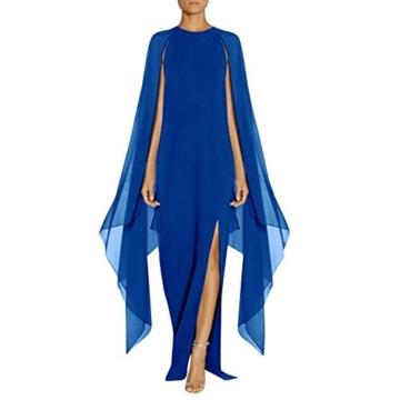 AmazingDays Damen Kleid Chiffon Kleider Lang Minikleid Elegant Ballkleider Abendkleider TüLl Partykleid Sommerkleid Casual (Blau, S) - 1