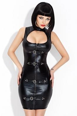 Amazinggirl Vinyl Set Clubwear PVC Lack Latex Vinyl Wetlook Rock Kleid Mini Ouvert -