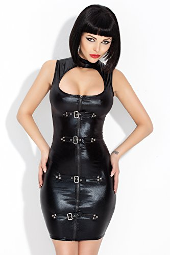 Amazinggirl Vinyl Set Clubwear PVC Lack Latex Vinyl Wetlook Rock Kleid Mini Ouvert -
