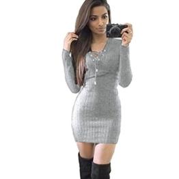 Amlaiworld Damen unregelmäßige Perspektive ärmel hoher Kragen figurbetontes Kleid, Winter warme Pullover Kleid (XL, A,Grau) - 1