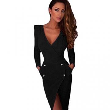 Amlaiworld Frauen tiefem V-Ausschnitt rückenfreies Kleid (S, schwarz) -