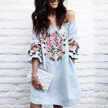 AMUSTER.DAN Mode Frauen Off Shoulder Mini Kleid Damen Sommer Strand Blumen Party Kleid (XL) -