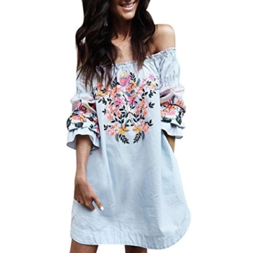 AMUSTER.DAN Mode Frauen Off Shoulder Mini Kleid Damen Sommer Strand Blumen Party Kleid (M) - 1