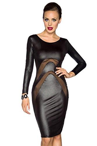 Amynetti Sexy Damen Kleid Cocktailkleid Partykleid Knielang Langarm Netz transparent Wetlook schwarz - 40/42 - 1