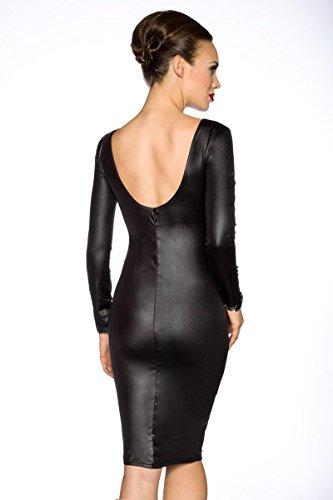 Amynetti Sexy Damen Kleid Cocktailkleid Partykleid Knielang Langarm Netz transparent Wetlook schwarz - 40/42 - 2
