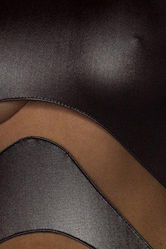 Amynetti Sexy Damen Kleid Cocktailkleid Partykleid Knielang Langarm Netz transparent Wetlook schwarz - 40/42 - 3