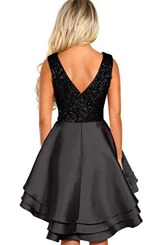 Ancapelion Damen Kleid Sexy V-Ausschnitt Mini Kleider mit Glänzend ärmellose Pailletten Schlank Kurz Ausgestellt Skater Kleider für Party/Abend/Verein/Cocktail/Formal, Schwarz, L( EU 44-46) - 3