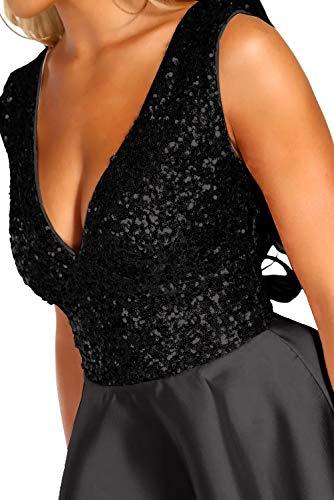 Ancapelion Damen Kleid Sexy V-Ausschnitt Mini Kleider mit Glänzend ärmellose Pailletten Schlank Kurz Ausgestellt Skater Kleider für Party/Abend/Verein/Cocktail/Formal, Schwarz, L( EU 44-46) - 4